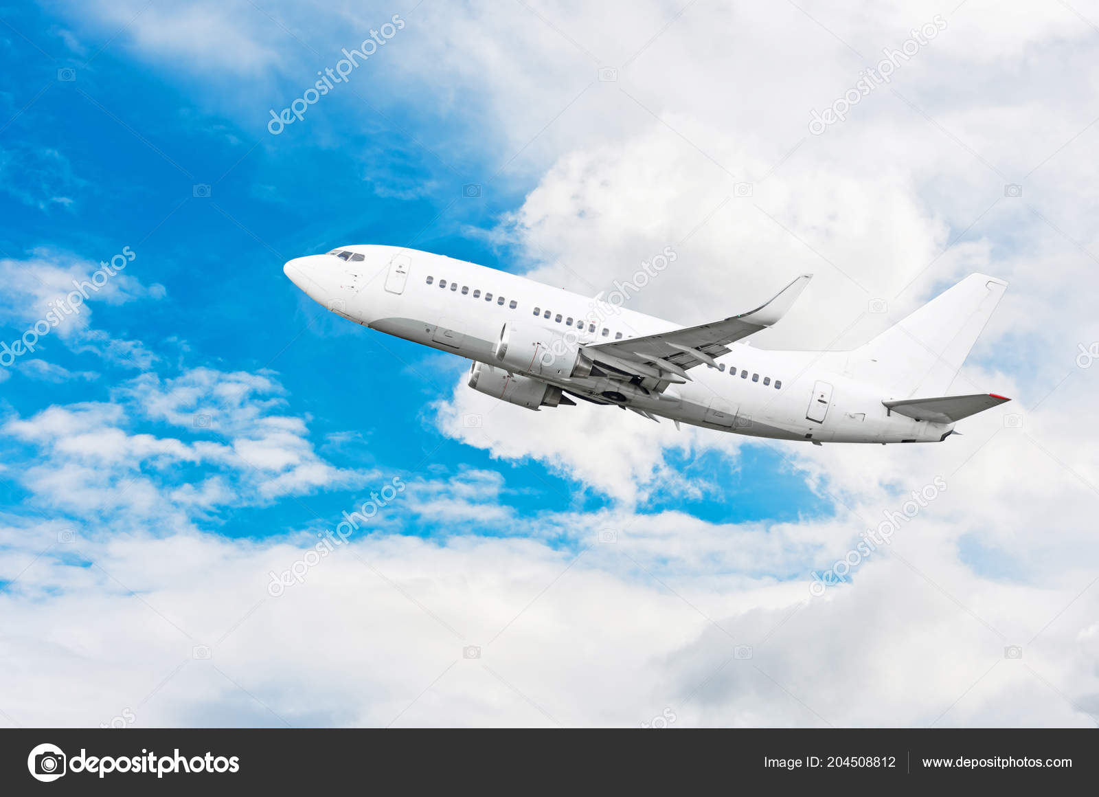 Passagier Vliegtuig Reizen Reis Niveau Van Vlucht Witte Wolken