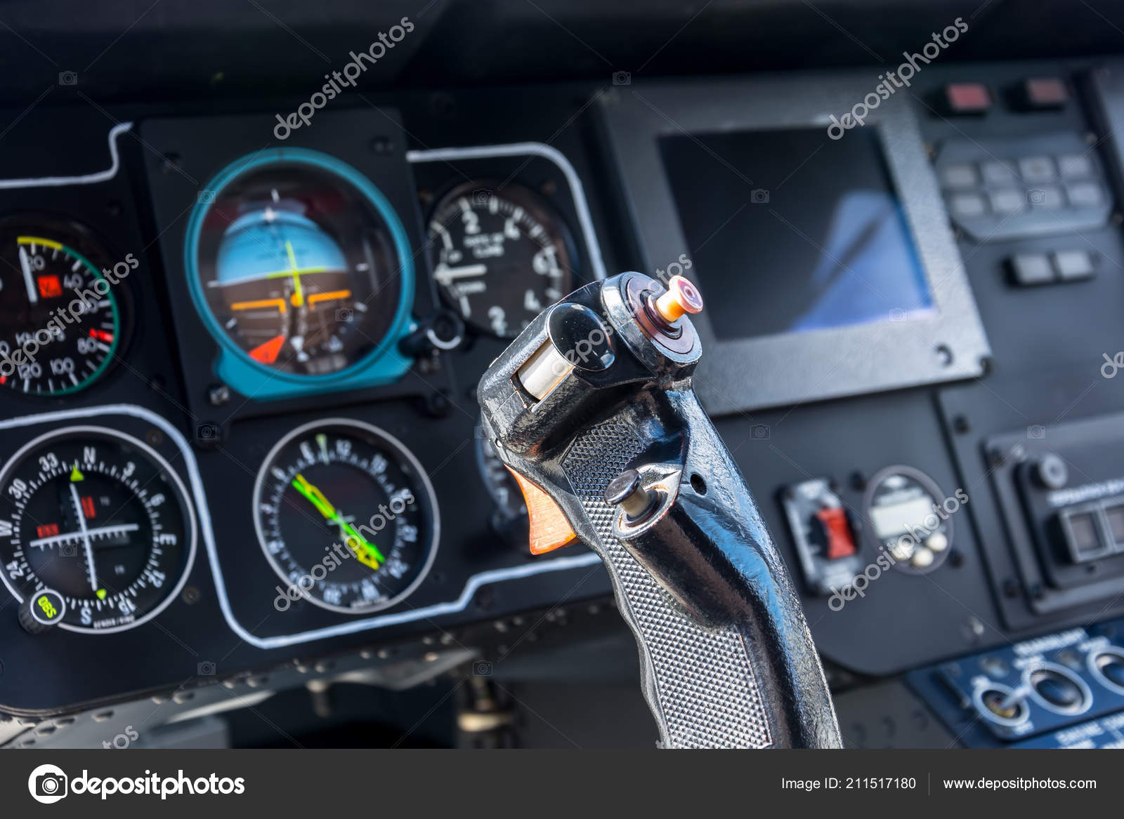 Airplane Cockpit View Steering Wheel Aircraft Pilot Control Cabin