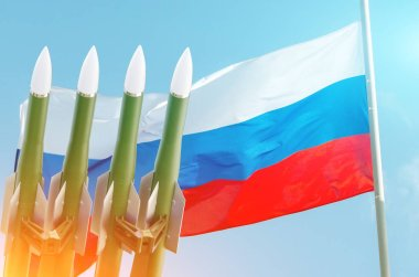 Rockets background Russian Federation of Russia flag. Treaty on the Elimination of Intermediate-range and Shorter-range.