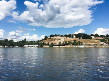 Sava river in Belgrade, view on the Kalemegdan fortress