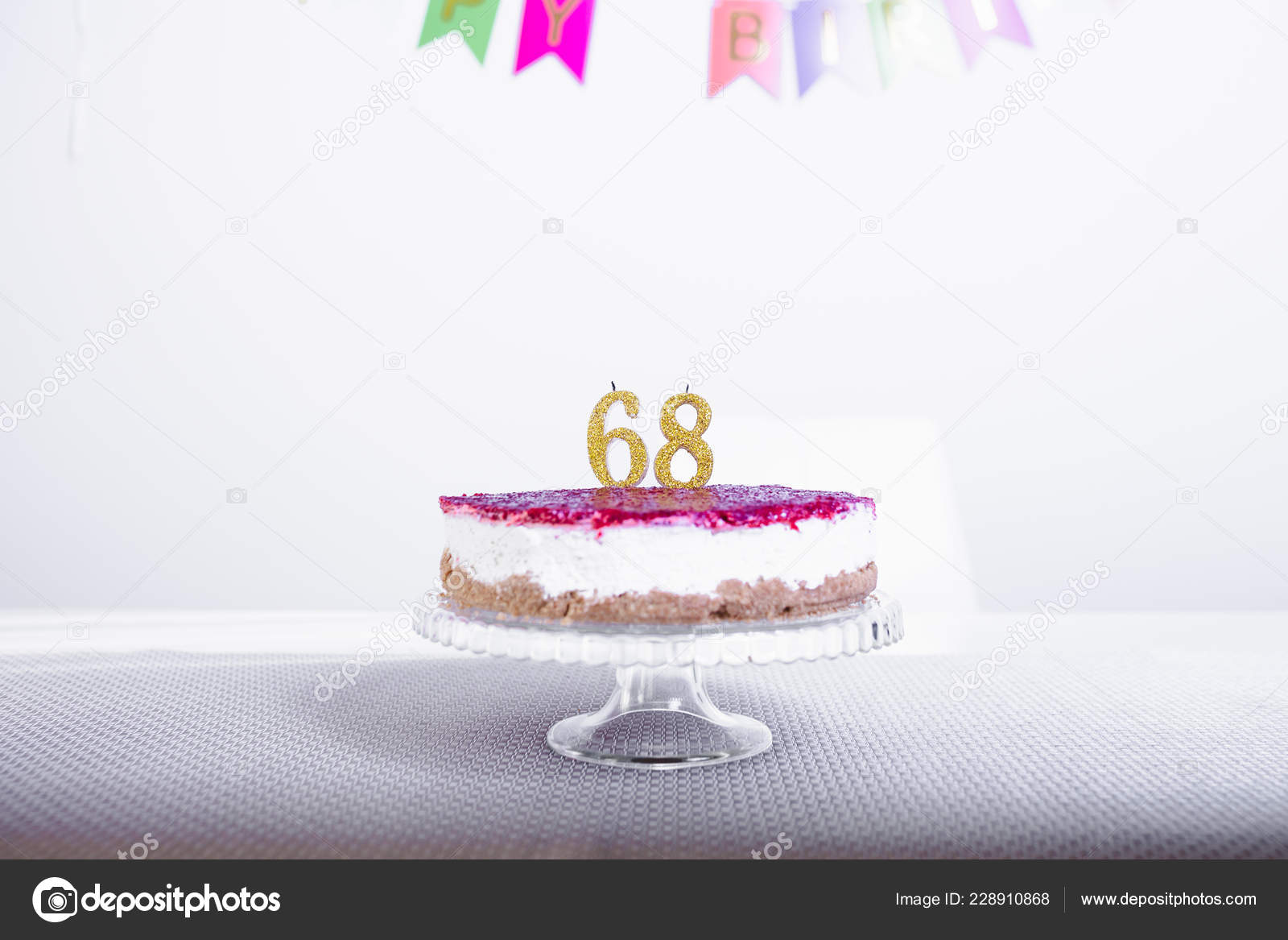 Birthday Cake Candles Number Sixty Eight Stand Stock Photo