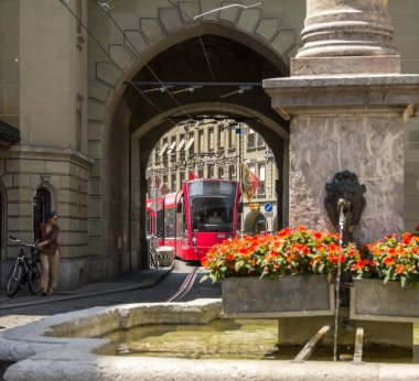 view of old town of Bern city, unesco world heritage site, It is a popular shopping street and medieval city centre of Bern, Switzerland