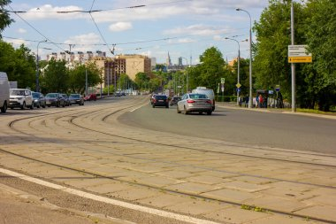 Beautiful architecture in the center of Moscow  Photo taken on city street ,Moscow, spring 2019, sky, buildings, facade