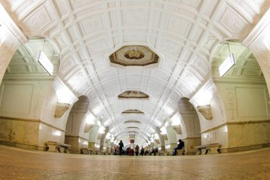 Beautiful Moscow metro stations in Moscow  Photo taken in the evening in the subway, Moscow, Russia, autumn 2017, subway, walls, columns