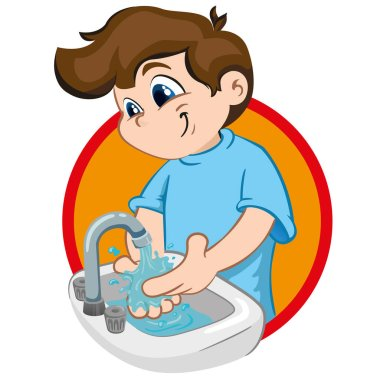 Illustration of a boy with tuft, washing his hands in a sink with running water. Ideal for tutorials and training materials, institutional and health