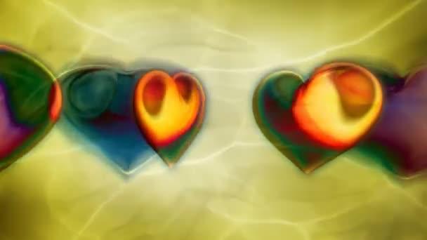 světlé barevné srdce na zeleném pozadí