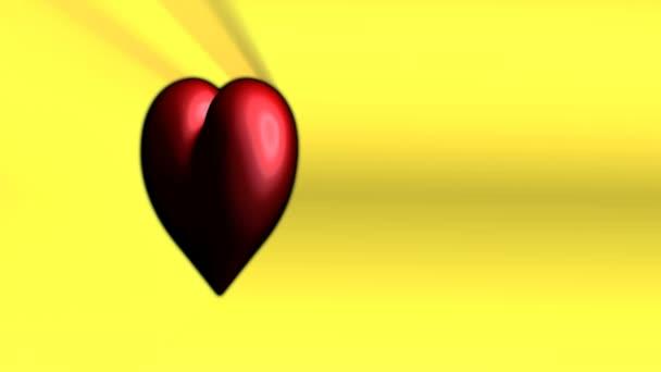 jasně červené srdce na žlutém podkladu