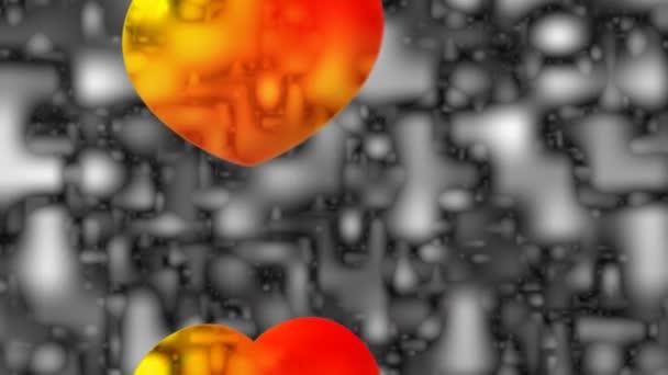 abstraktní motion grafika barevné svítící srdce na šedém pozadí