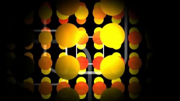 movimento astratto grafica del cerchio colorato e modelli quadrati su sfondo scuro