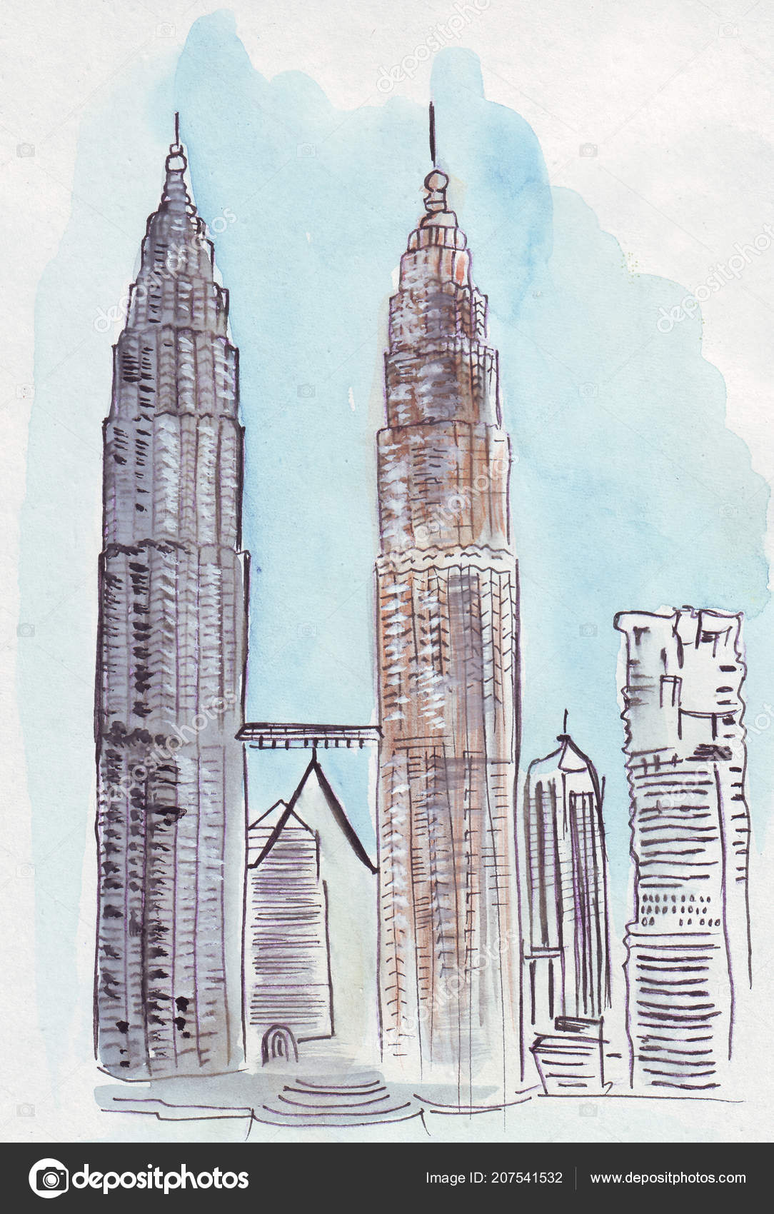 Twin Towers Malaysia Drawing Drawing Tutorial Easy