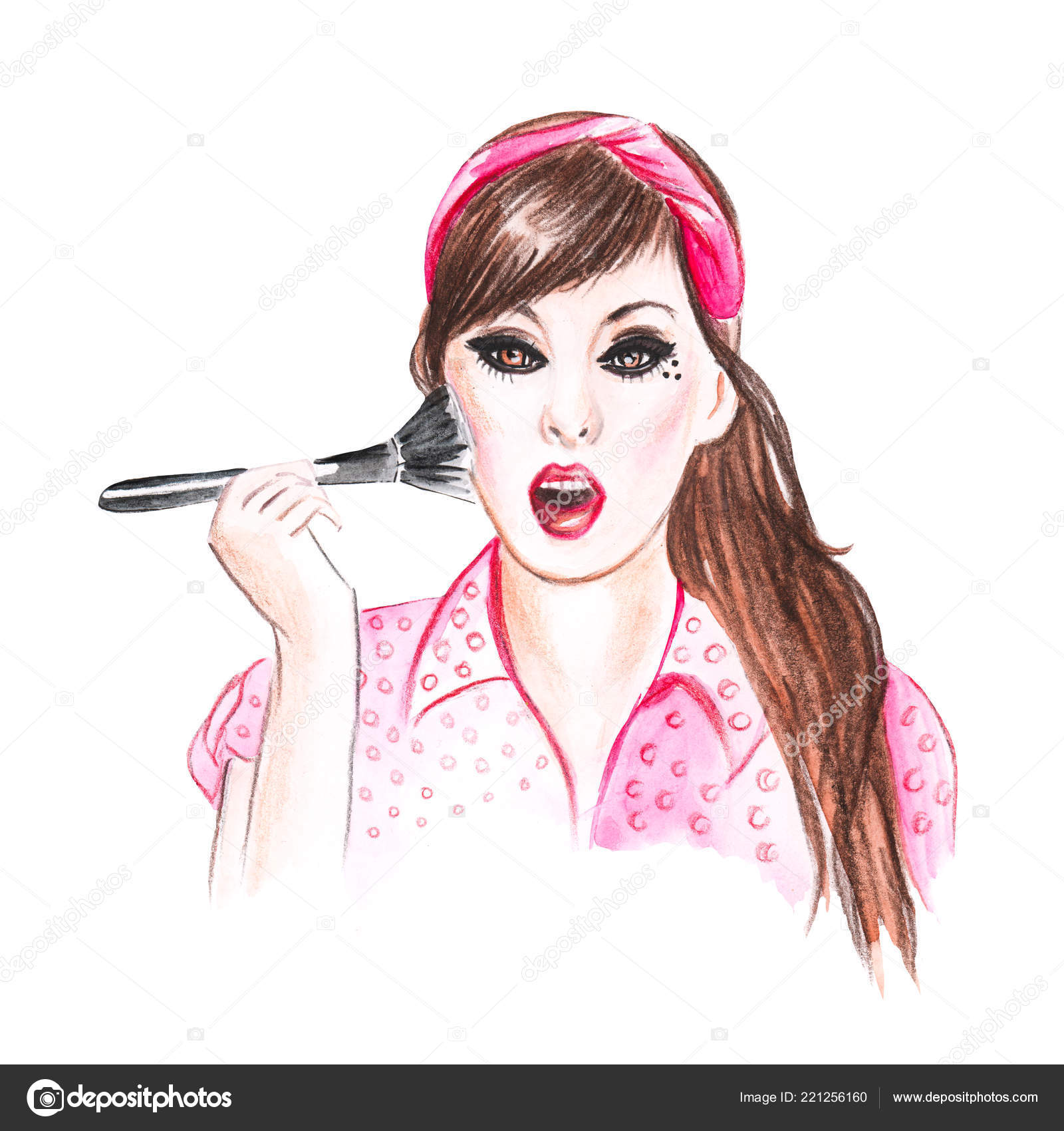 Hand drawing portrait of a girl makeup artist stock photo