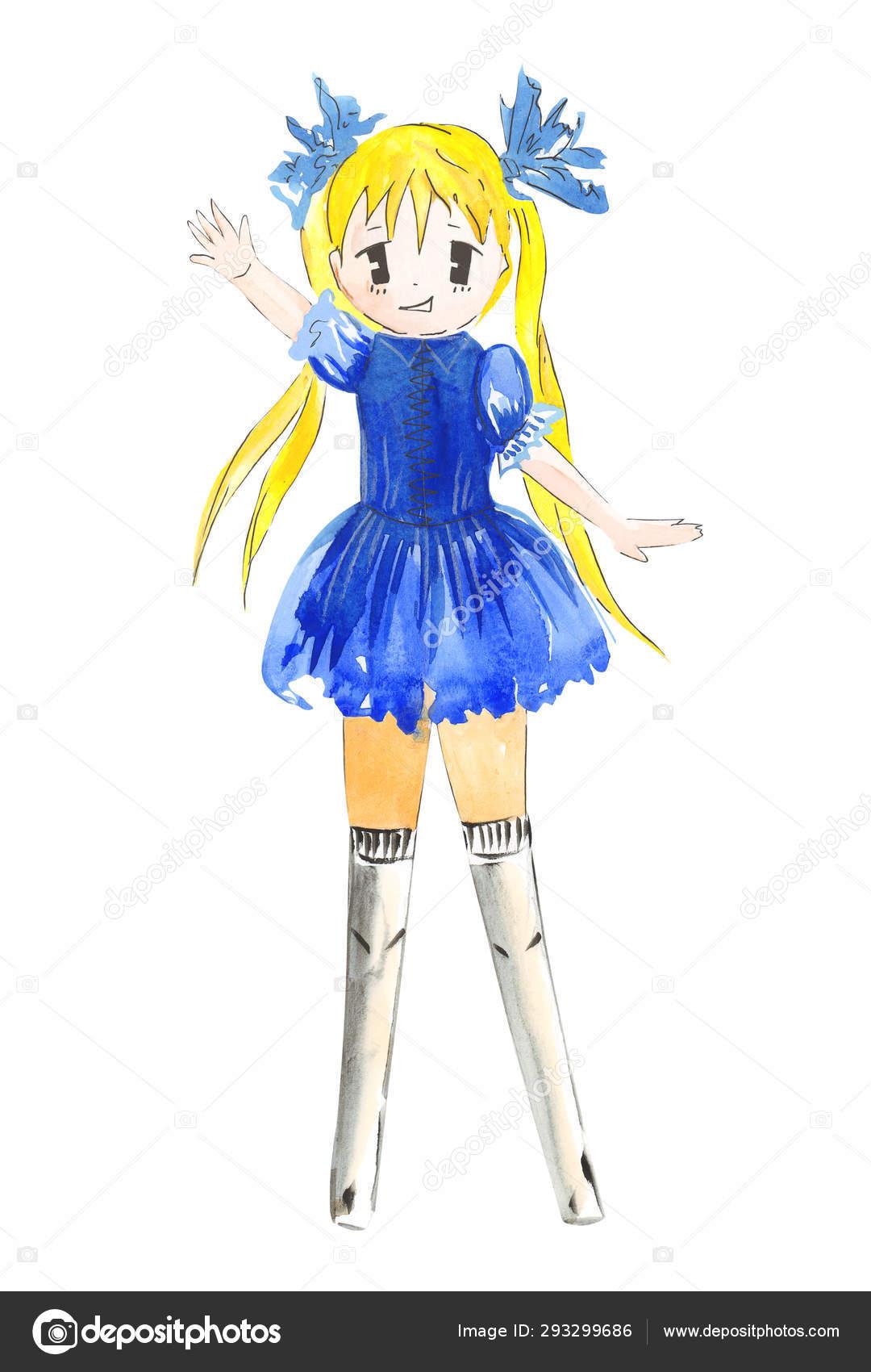 Dessin Couleur Illustration Fille Manga Aquarelle Dans Des