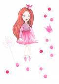 Photo Illustration of watercolor painting of doll of princess in floral motifs on an isolated white background.