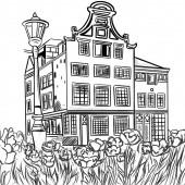 Ilustrace kresby v černé barvě pro omalovánky vícepodlažní budovy ve stylu vintage s polem tulipánů před sebou.