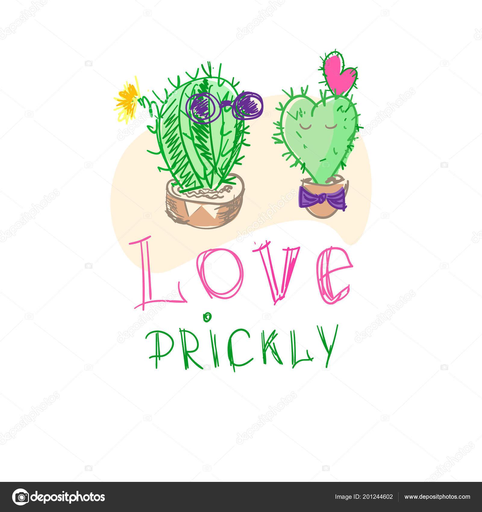 Dva Kaktusu Hrnci Humorem Karikaturou Rucni Kresba Pichlavy Laska