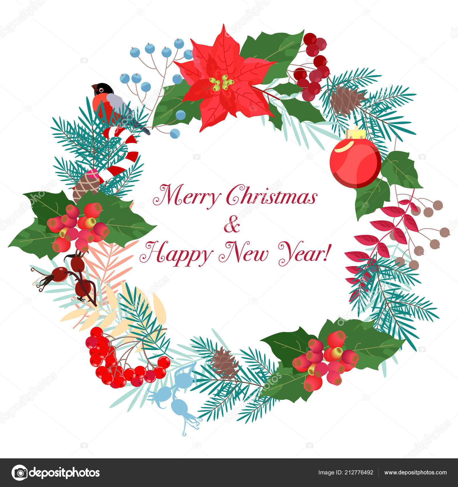 New Year. Winter pattern. Christmas wreaths. Templates for postcards ...