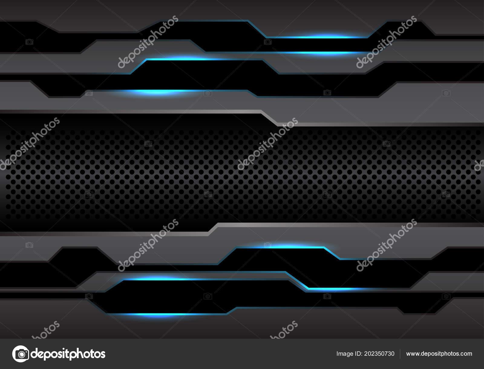 Abstract Metal Dark Gray Polygon Circle Mesh Blue Light