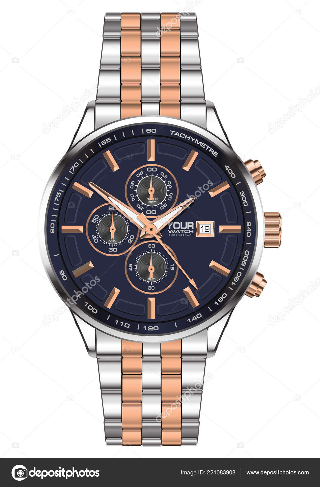 Realistic Watch Clock Chronograph Stainless Steel Copper