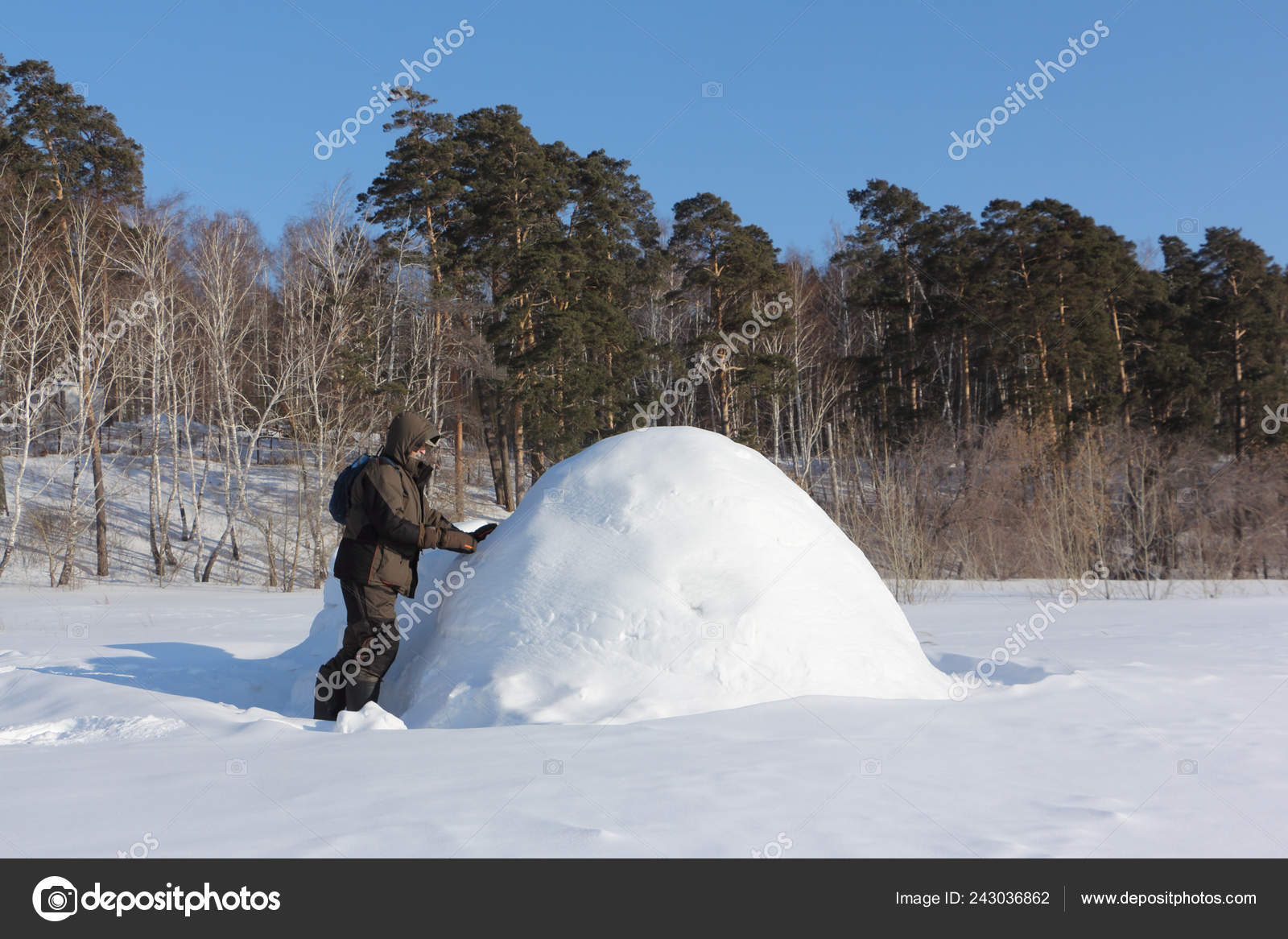 Man Warm Clothes Building Igloo Snowy Glade Winter Siberia