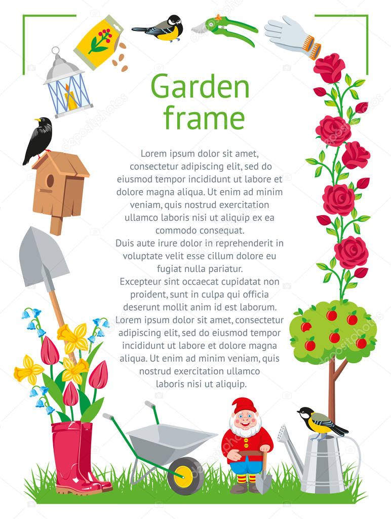 Garden frame cartoon style. Garden collection tools isolated on white background illustration