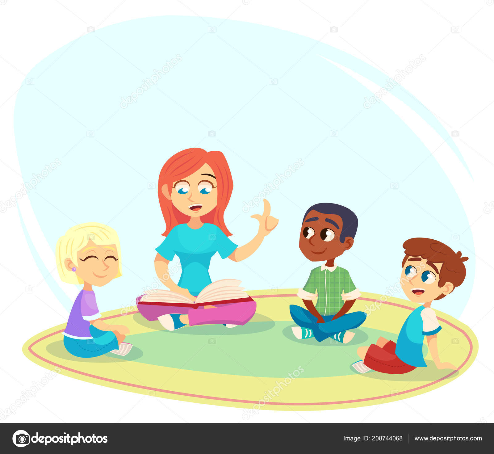 Enseignante Lire Livre Enfants Assis Sur Sol Cercle Ecoutent