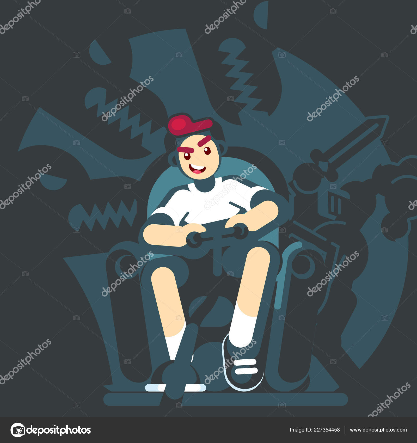 Happy Gamer Playing Video Game Sitting On The Couch Sofa Gamepad In