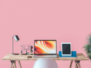Working room and a work desk with a pink background. 3d render and illustration. stock vector