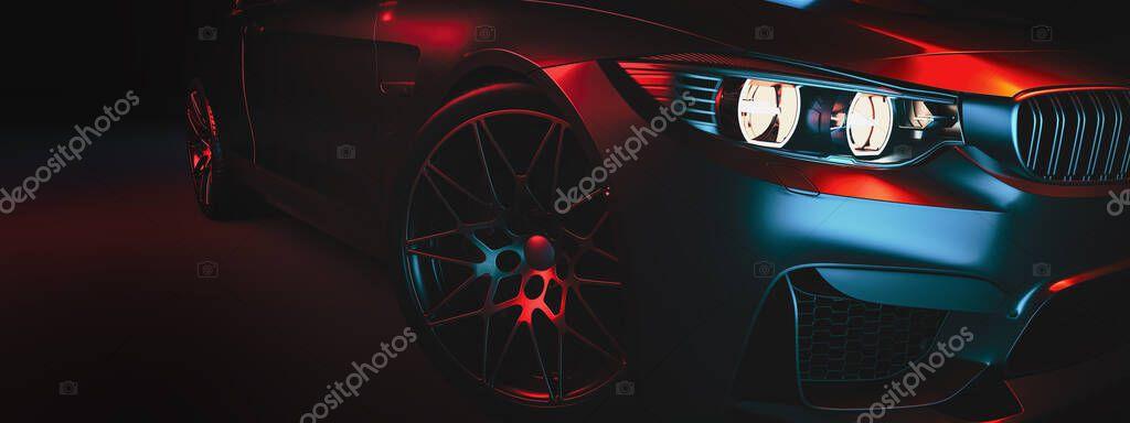 Le auto moderne sono nella sala studio. Illustrazione 3d e rendering 3d.