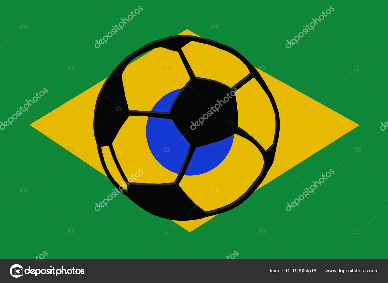 Fussball Ball Und Brasilien Flagge Hand Gezeichnete Einfache
