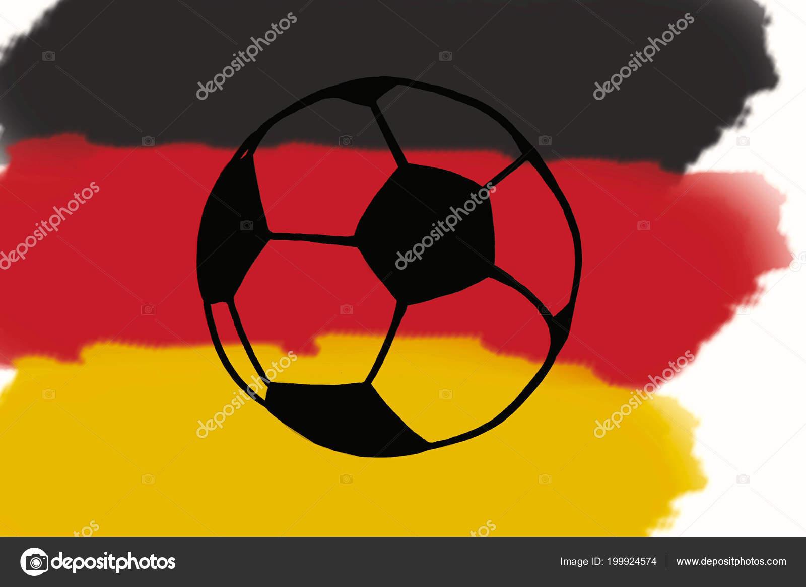 Fussball Ball Und Deutschland Flagge Hand Gezeichnete