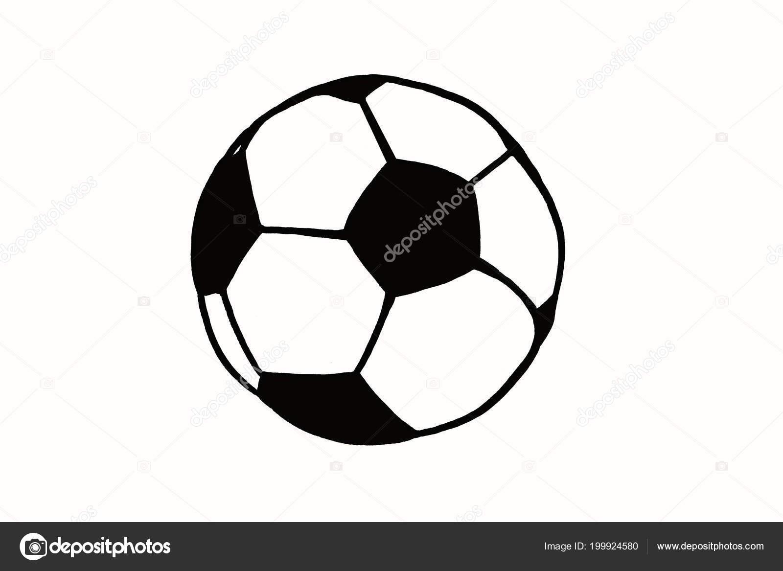 Fussball Hand Gezeichnete Einfache Darstellung Schwarze Kugel