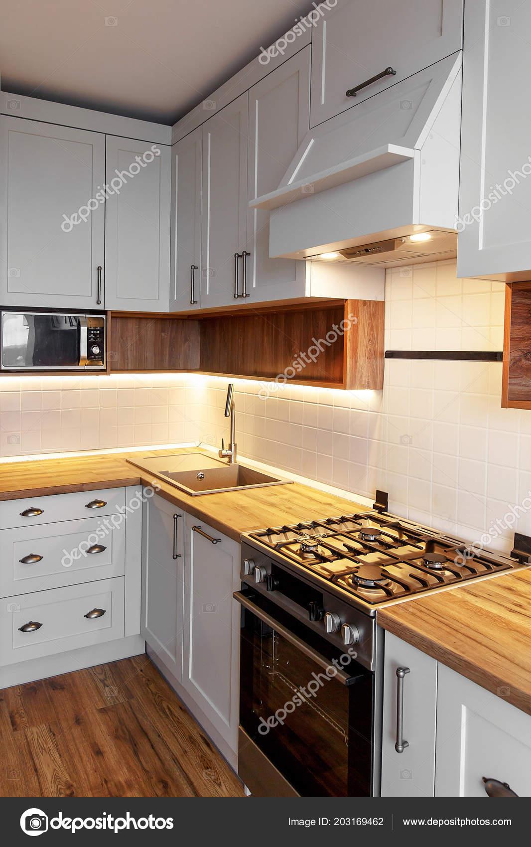 Stylish Light Gray Kitchen Interior Modern Cabinets Light Stainless