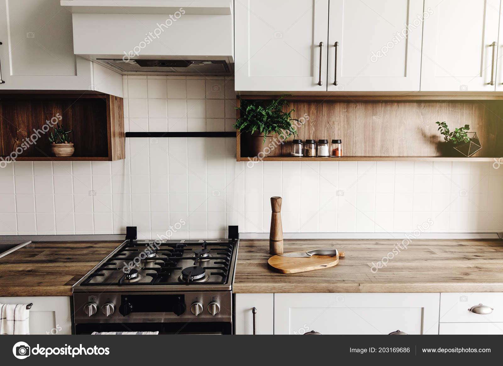 Diseño Cocina Moderna Estilo Escandinavo Interior Gris Claro Con ...