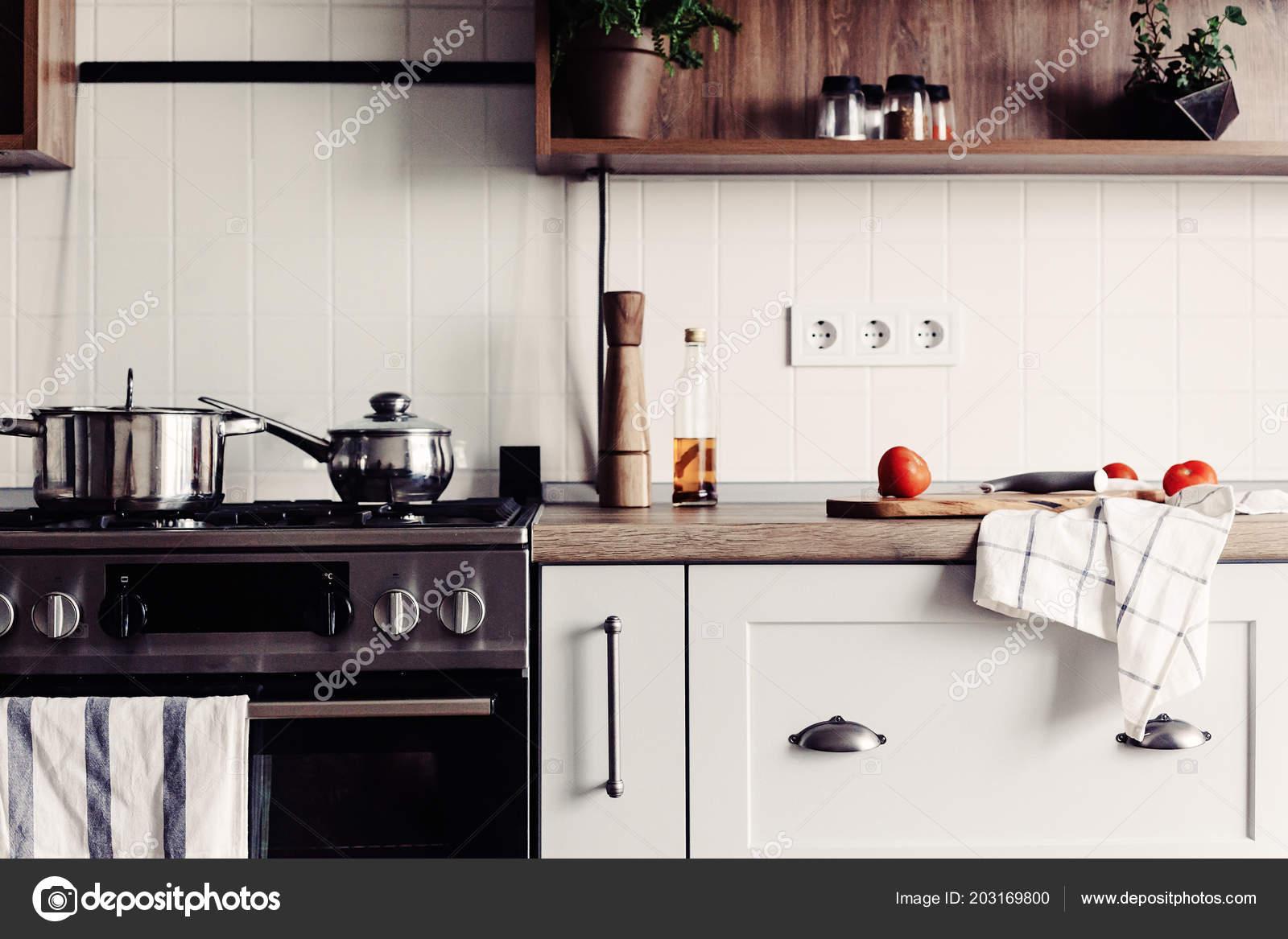 Gotowanie Nowoczesną Kuchnię Stylu Skandynawskim Stylowa