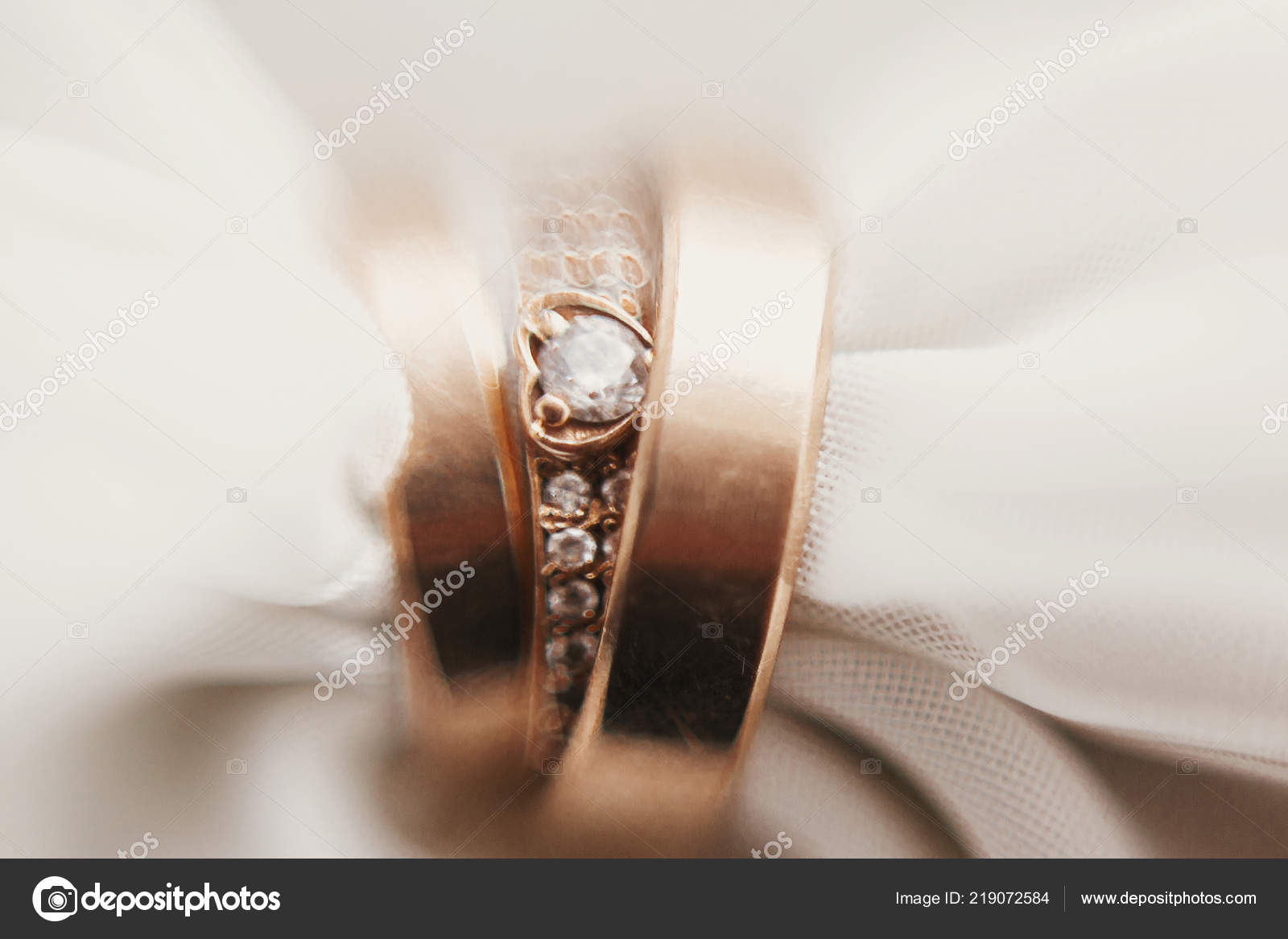 Modern Wedding Golden Rings Soft Fabric Creative Image