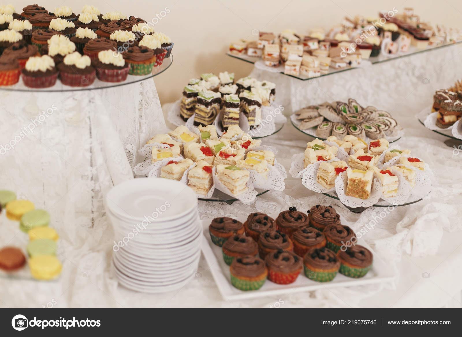 Delicious Table Desserts Macarons Wedding Reception Restaurant Candy Bar Luxury Stock Photo C Sonyachny 219075746