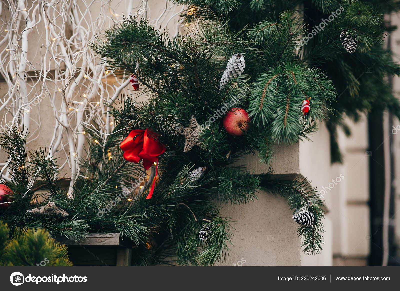 Stylish Christmas Decorations Green Christmas Wreath Red Bows Ornaments Pine Stock Photo C Sonyachny 220242006