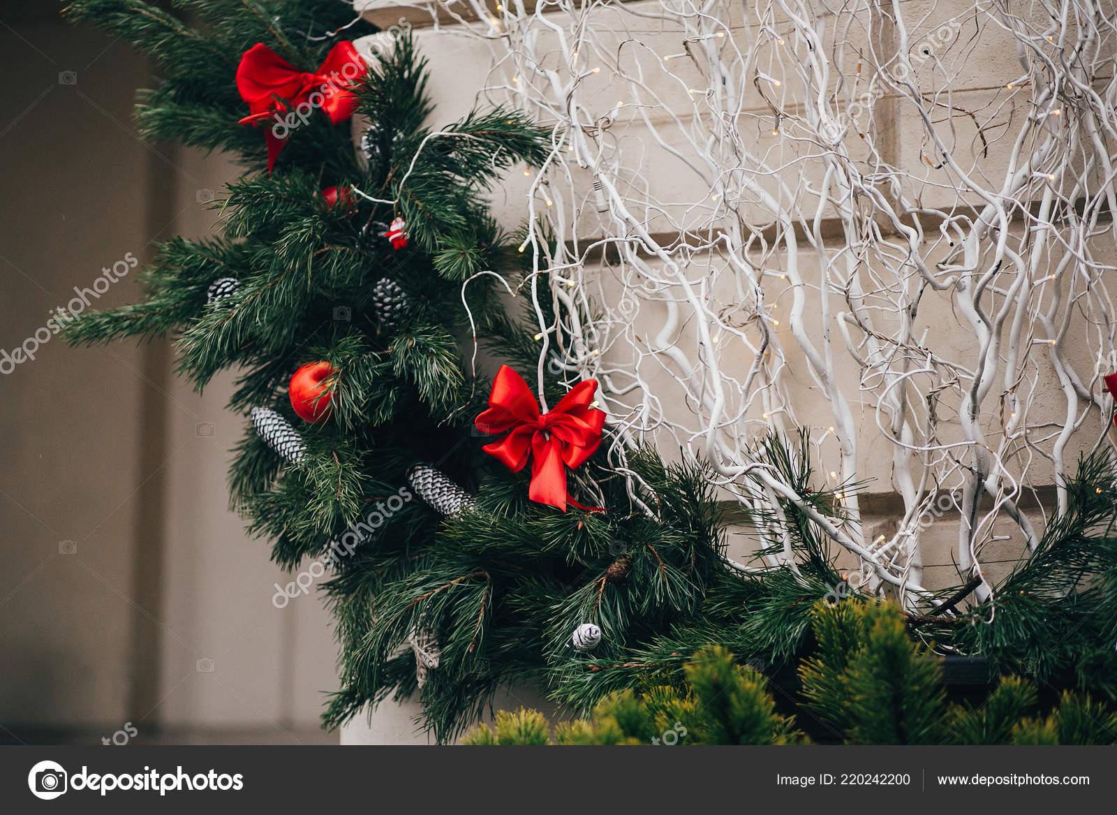 Stylish Christmas Wreath Red Bows Ornaments Pine Cones Stars White Stock Photo C Sonyachny 220242200