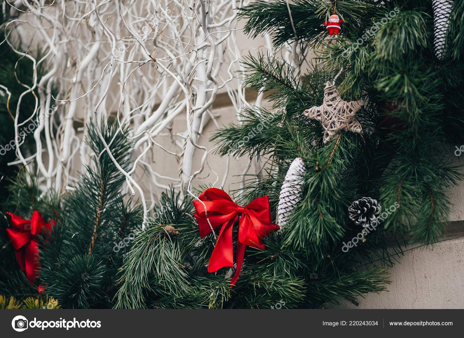 Stylish Christmas Decorations Green Christmas Wreath Red Bows Ornaments Pine Stock Photo C Sonyachny 220243034