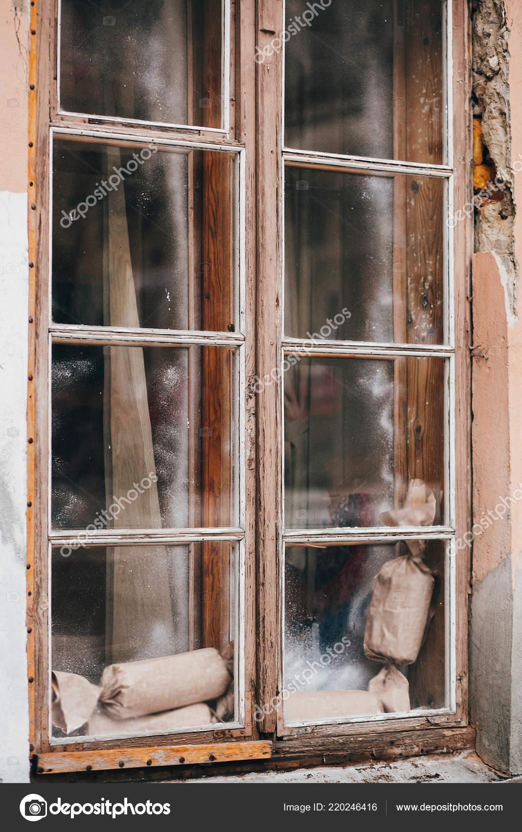 Rustykalne Prezenty Stare Drewniane Okna Europejskim Mieście