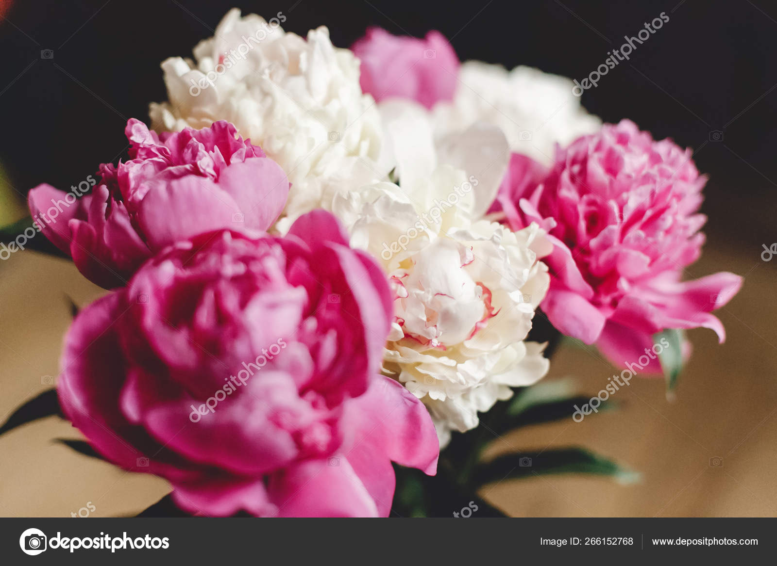 Beautiful Pink And White Peonies Bouquet In Glass Jar On Rustic Stock Photo C Sonyachny 266152768