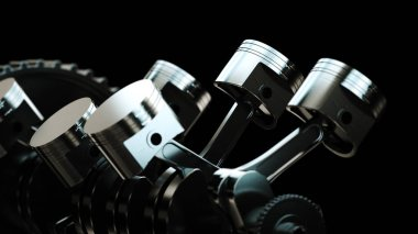 3d illustration of engine. Motor parts as crankshaft, pistons, gears