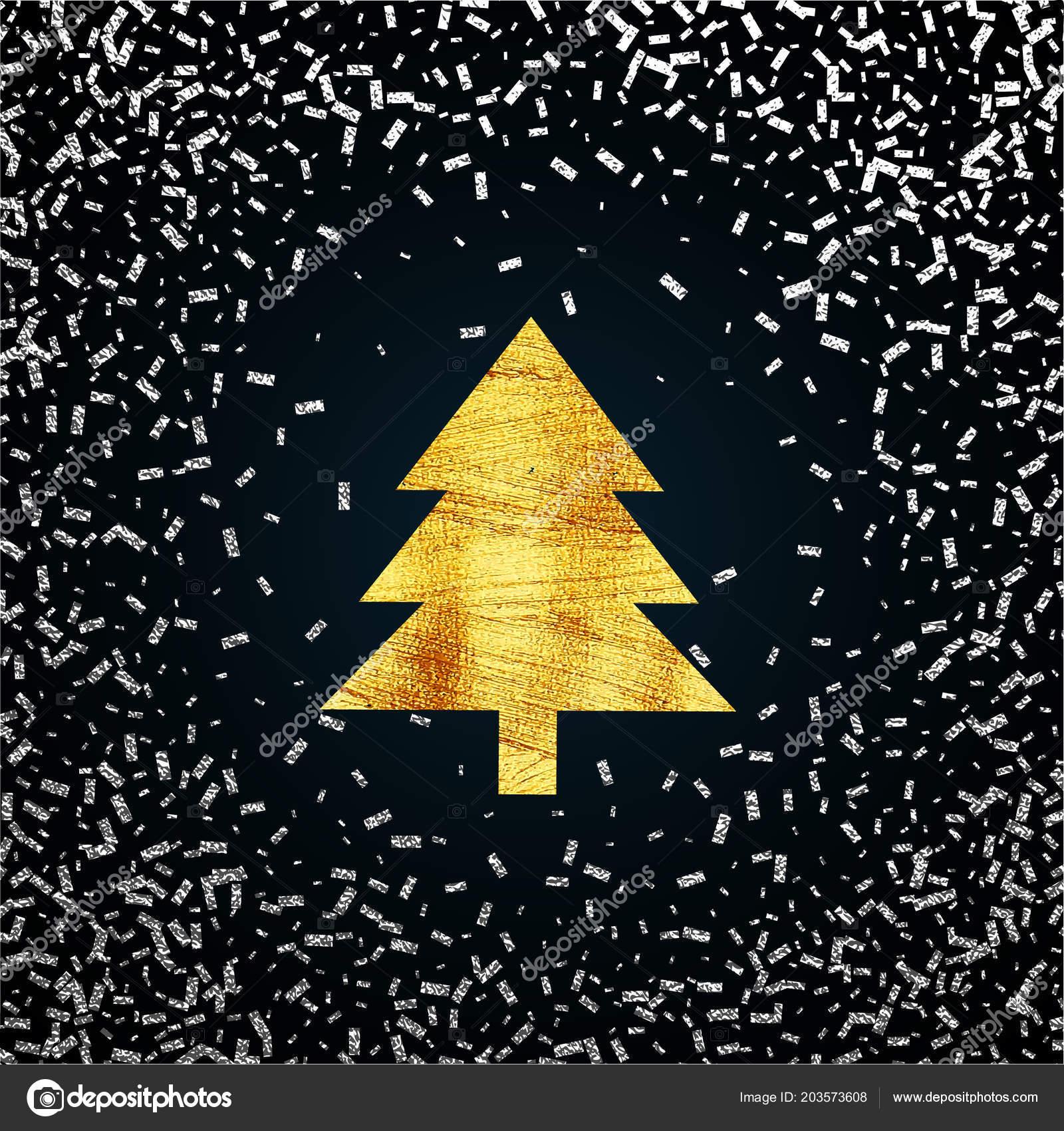 Weihnachtsbaum Explodiert.Gold Weihnachtsbaum Einem Schneit Pinselstriche Farbe Gold Festliche