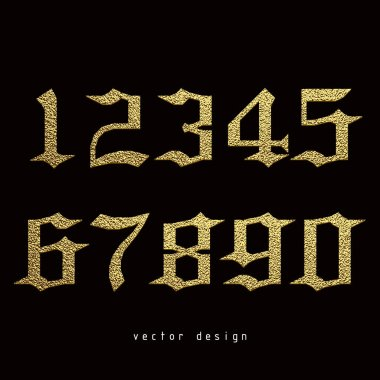 Set of gothic numbers with golden glitter effect, figures isolated on black background. Vector illustration.