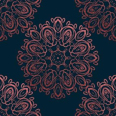Pink Decorative Mandala. Rose quartz Vintage, ethnic element. Oriental pattern, vector illustration for wedding invitations, greeting cards. Islam, Arabic, indian, turkish pakistan chinese motifs