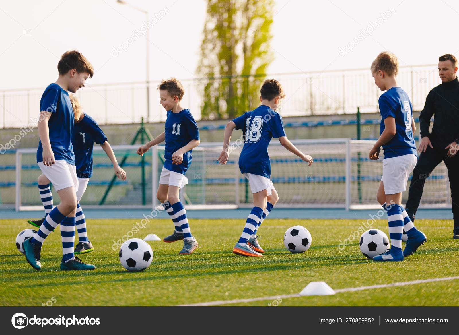 Young Boys in Sports Club on Soccer Football Training  Kids Enhance
