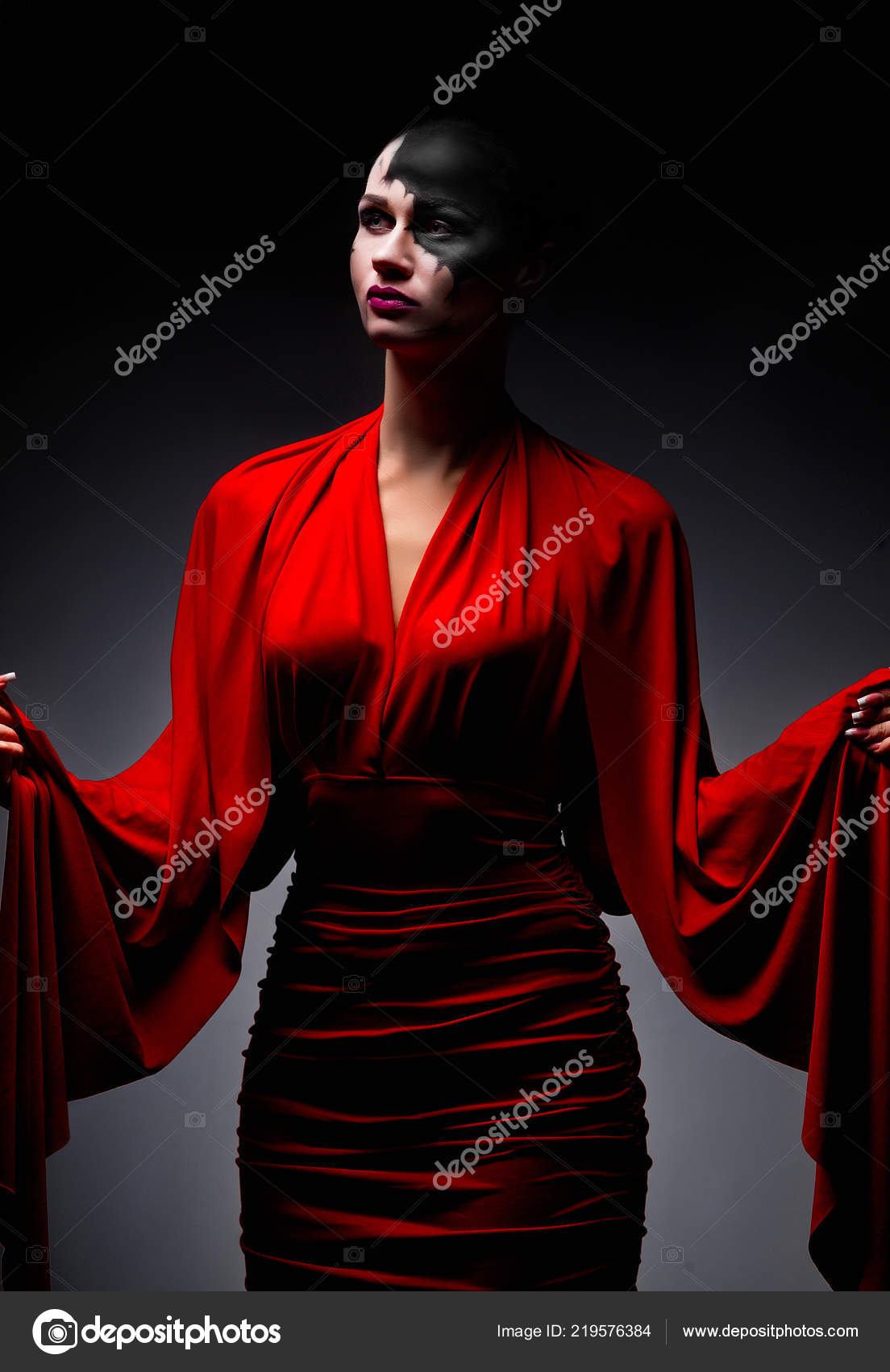 2ef6d43bfd4 Female Ghost Red Dress — Stock Photo © korolOK  219576384