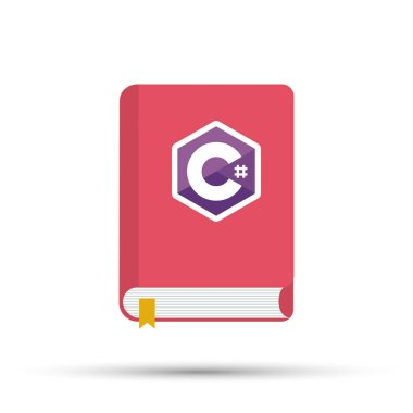 Icon of books about programming. A book on the C programming language. Vector stock illustration.