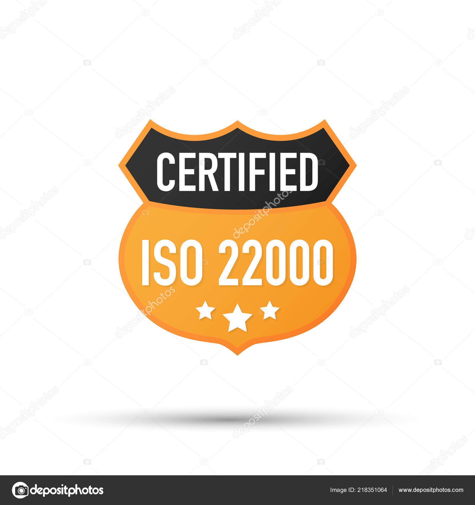 ISO 22000 Certified Badge Icon Certification Stamp Flat Design Vector Illustration
