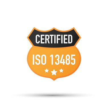 ISO 13485 Certified badge, icon. Certification stamp. Flat design vector. Vector illustration.